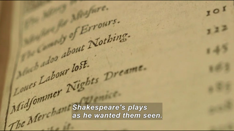 Still image from: The Secret Life of Books: The First Folio