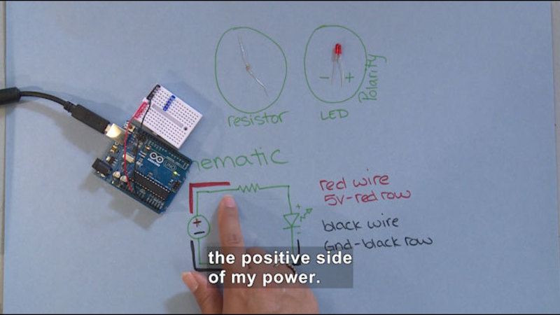Circuit board with red and black wire. Resistor and LED with positive and negative polarity are displayed. A schematic shows a diagram of the red wire as 5v red row, black wire and black row. Caption: the positive side of my power.
