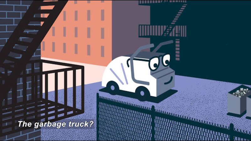Cartoon of a garbage truck pulling up to a dumpster. Caption: The garbage truck?