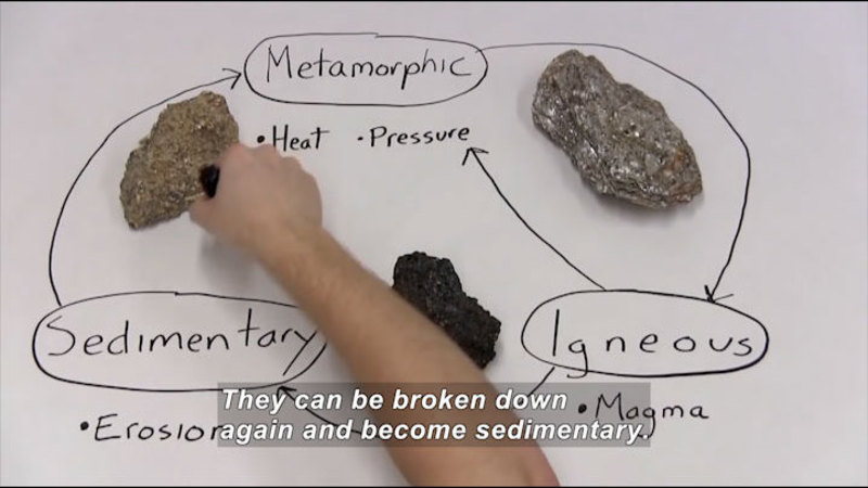Sedimentary rock (erosion) is turned into metamorphic rock (heat and pressure); metamorphic rock changes to igneous rock; igneous (magma) rock can go back to metamorphic rock or can change to sedimentary rock. Caption: They can be broken down again and become sedimentary.