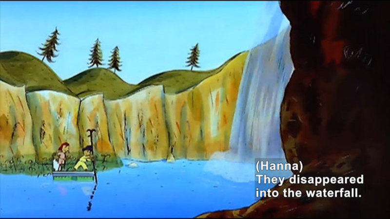 Illustration of two people floating on a platform and moving towards a waterfall. Caption: (Hanna) They disappeared into the waterfall.