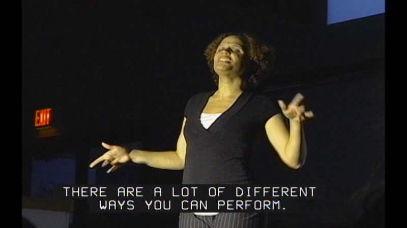 Still image from Achieving Goals! Career Stories of Individuals Who Are Deaf and Hard of Hearing: Ambitious Achievers (Rosa Lee Gallimore, Performing Artist)