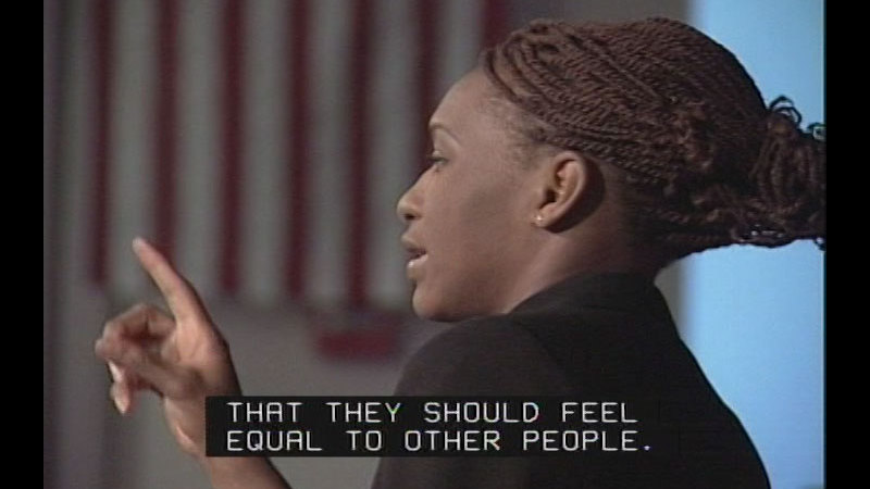 Still image from: Achieving Goals! Career Stories of Individuals Who Are Deaf and Hard of Hearing: Phenomenal Professionals (Claudia Gordon, ESQ)