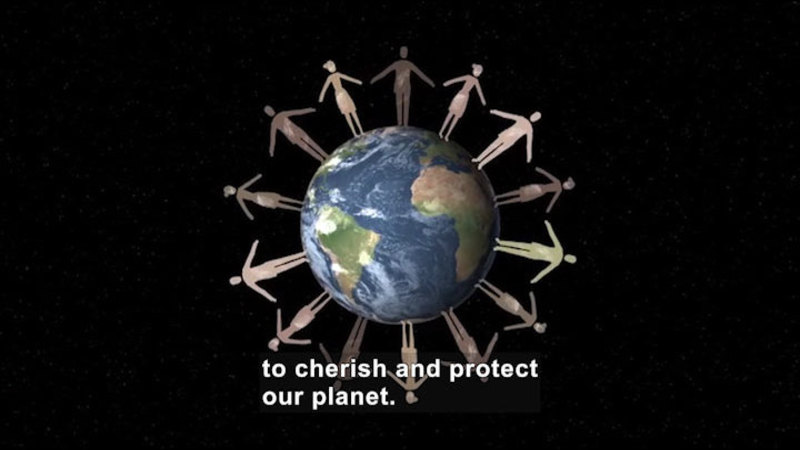 Earth in space with cutouts of people standing around the circumference, hands extended towards each other. Caption: to cherish and protect our planet.