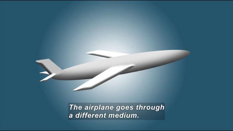 Digital airplane. Caption: The airplane goes through a different medium.
