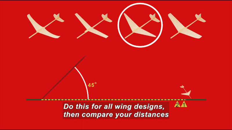 Four different styles of winged planes. Caption: Do this for all wing designs, then compare your distances