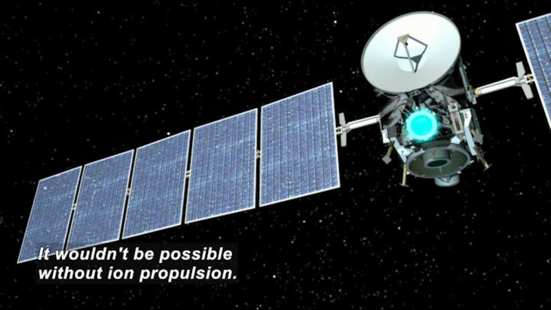 A roughly cube shaped space craft with a communications dish and two large rectangular solar panels flying through space. Caption: It wouldn't be possible without ion propulsion.