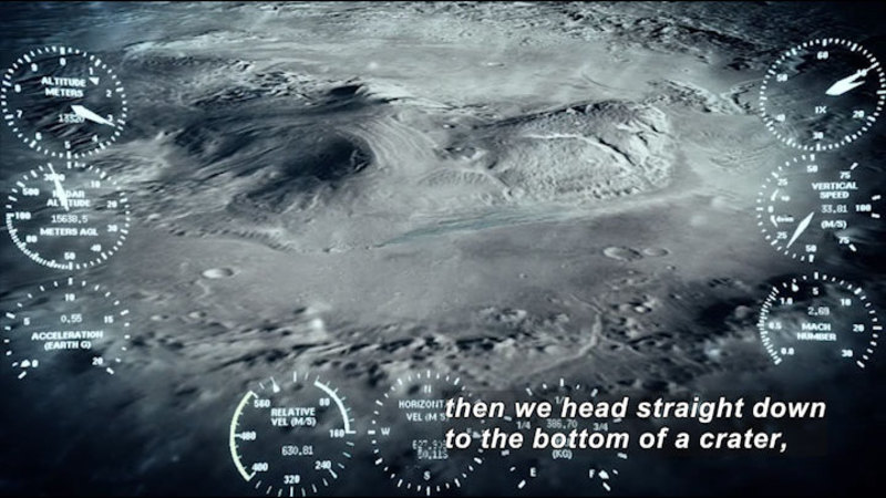 Spatial view of a crater on the moon. Caption: then we head straight down to the bottom of a crater,