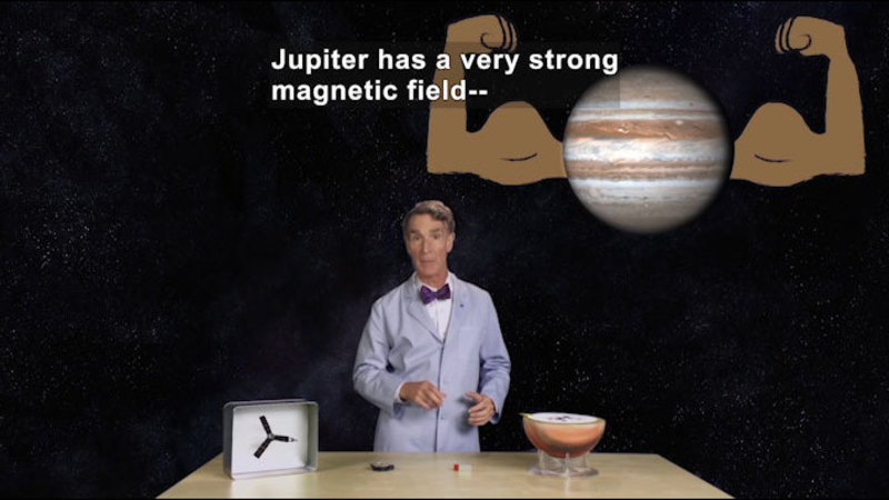 Picture of Jupiter with muscular arms. Caption: Jupiter has a very strong magnetic field--