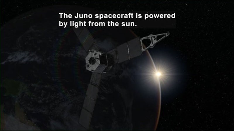 Satellite orbiting around a planet. Caption: The Juno spacecraft is powered by light from the sun.