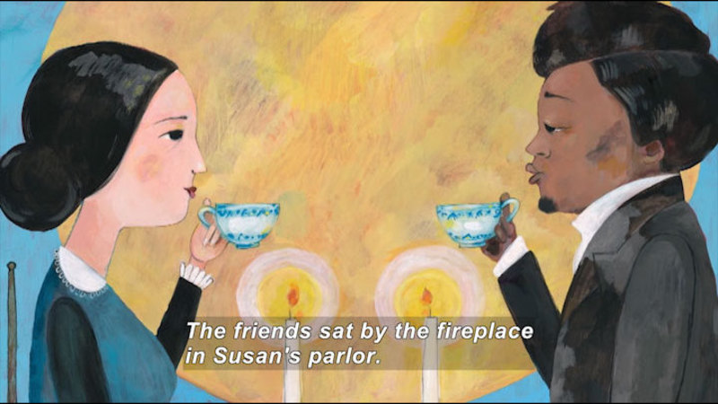 Still image from: Two Friends: Susan B. Anthony and Frederick Douglass