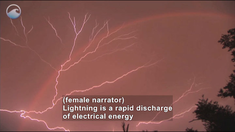 Lightning branching across the sky. Caption: (female narrator) Lightning is a rapid discharge of electrical energy