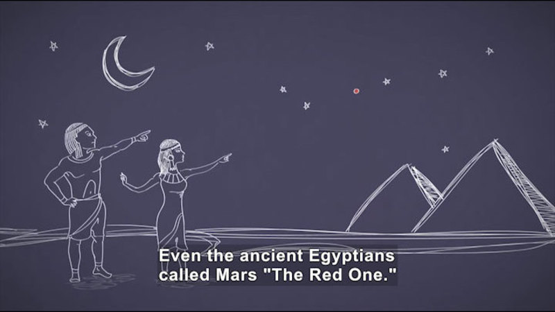 """Illustration of people in ancient Egyptian dress pointing over pyramids into the night sky. Caption: Even the ancient Egyptians called Mars """"The Red One."""""""