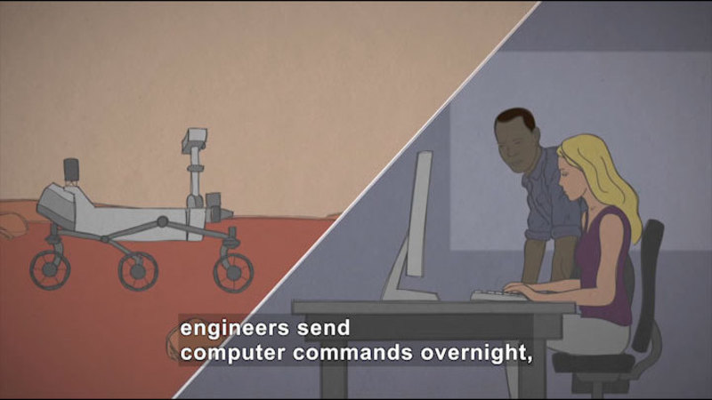 Illustration of a split screen showing a robot with wheels on the surface of a red planet and people at a computer. Caption: engineers send computer commands overnight,