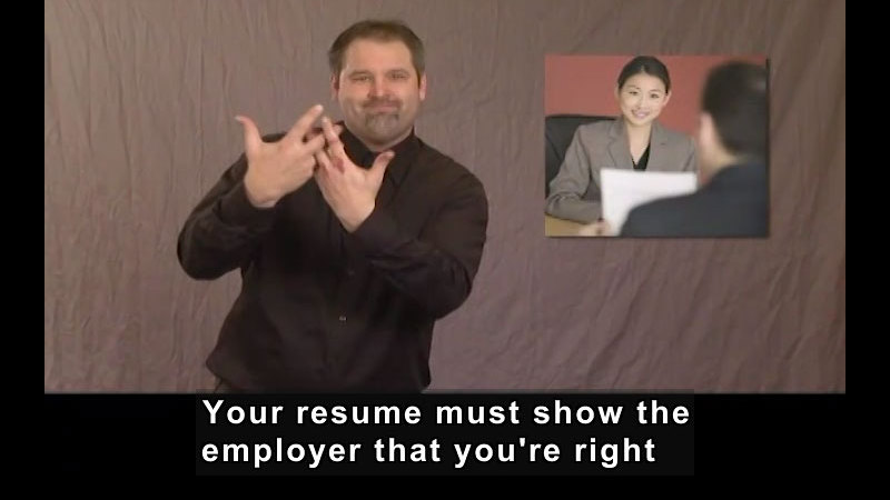 Still image from: Getting a Job! for Students Who Are Deaf and Hard of Hearing: Résumé