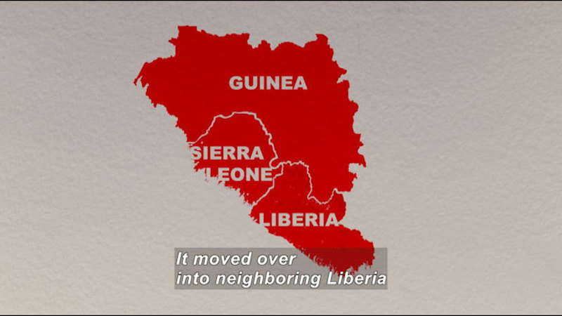 An outline map depicts Guinea, Sierra Leone, and Liberia. Caption: it moved over into neighboring Liberia