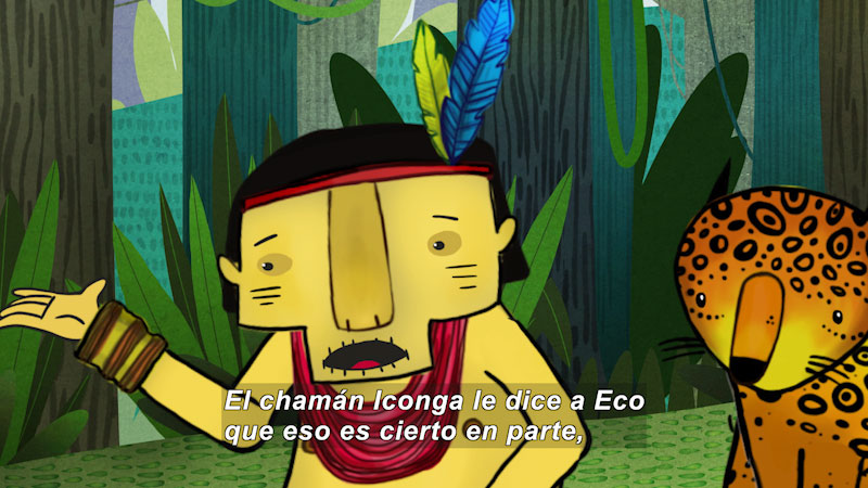 Cartoon of an indigenous person and a leopard in a jungle setting. Spanish captions.