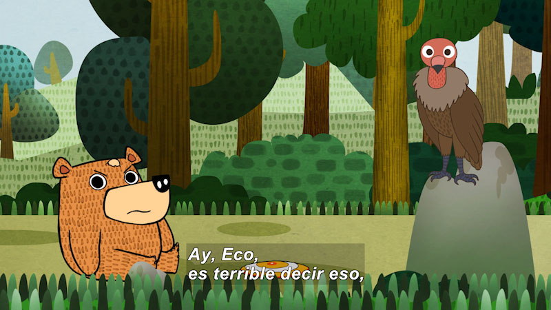 Cartoon of a bear and bird in a forest. Spanish captions.