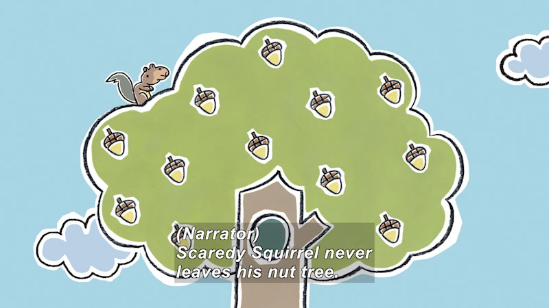 Still image from: Scaredy Squirrel