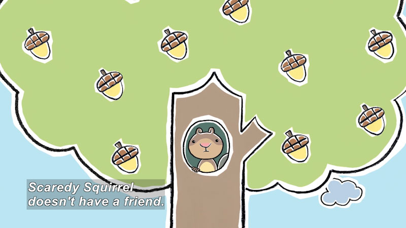 Still image from: Scaredy Squirrel Makes a Friend