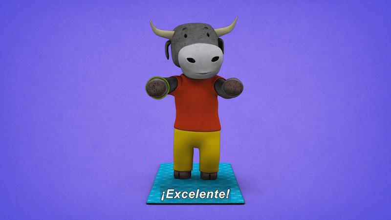 Still image from: Ooommm Mmmooo Yoga For Children: Courageous Pepe--Wild Bull (Spanish)