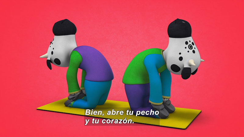Still image from: Ooommm Mmmooo Yoga For Children: Inseparable Pati & Ani--In Contact (Spanish)