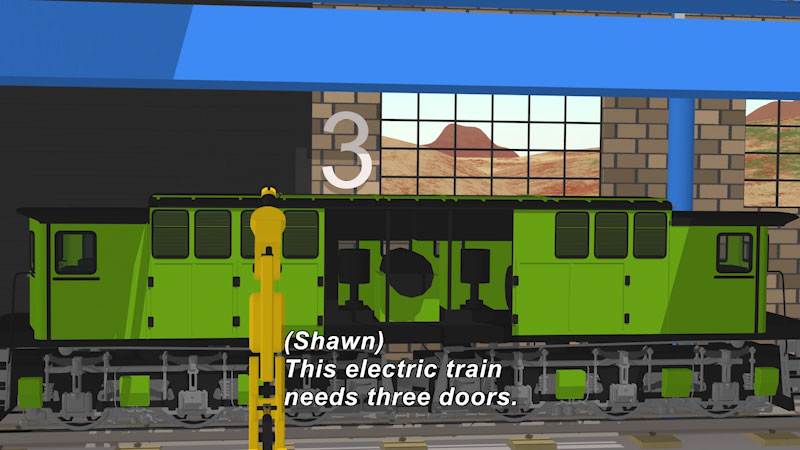 Illustration of a train on the tracks. Caption: (Shawn) This electric train needs three doors.