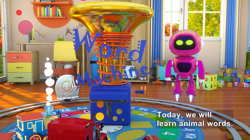 Still image from: Learn to Read With Max the Glow Train and His Team