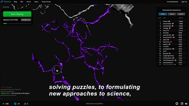 Computer screen displaying a 3D image of an Eye wire cell mapping. Caption: solving puzzles, to formulating new approaches to science,