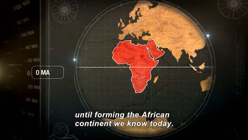Illustration of the globe with Africa highlighted. Caption: until forming the African continent we know today.