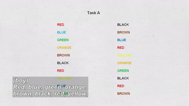 Task A. Two columns with the words red, blue, green, orange, brown, black, and yellow written in the corresponding color but different order. Caption: (boy) Red, blue, green, orange, brown, black, red, yellow,