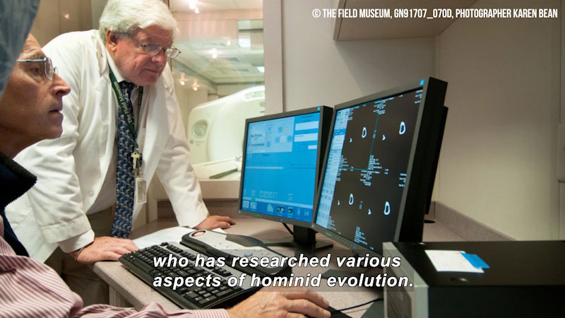 Two people looking at a computer screen. Caption: who has researched various aspects of hominid evolution.