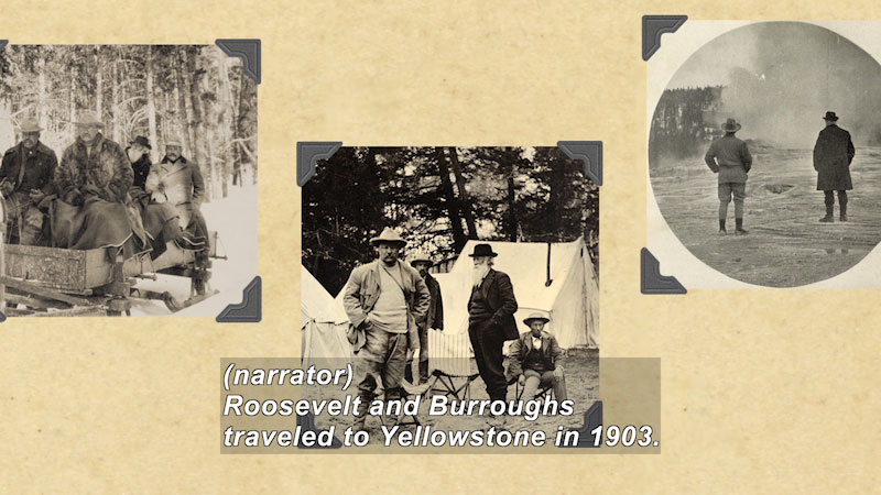 Three old black and white images of men. Caption: (narrator) Roosevelt and Burroughs traveled to Yellowstone in 1903.