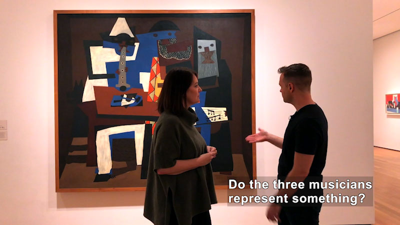 """Still image from: What Is Cubism? Pablo Picasso's """"Three Musicians"""" at the MoMA"""