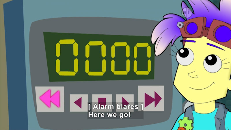 """Cartoon of a person next to a display reading """"0000"""". Caption: [ Alarm blares ] Here we go!"""