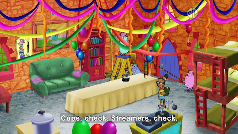 Cartoon of a person and several pigs decorating a room. Caption: Cups, check. Streamers, check.