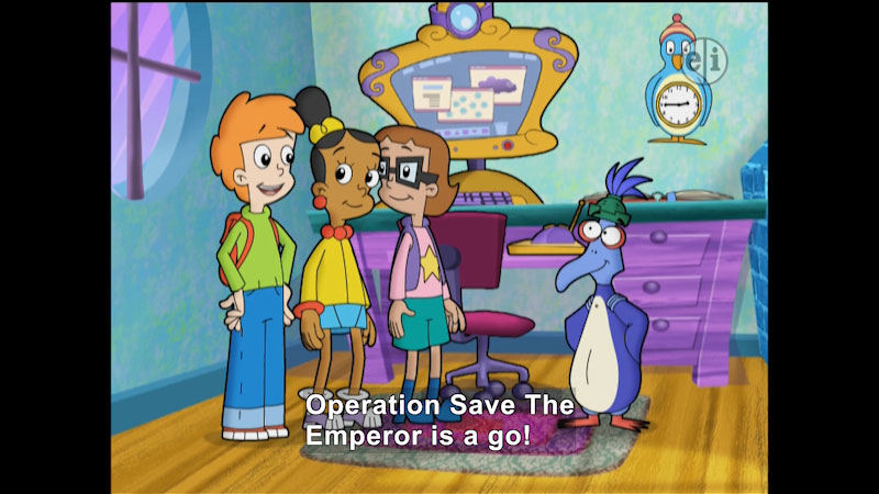 Three cartoon characters talking to a bird. Caption: Operation Save The Emperor is a go!