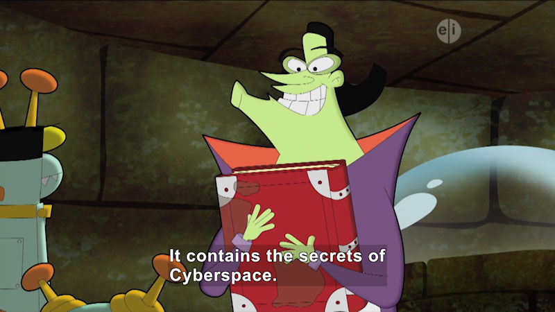 Cartoon character clutching a book to his chest. Caption: It contains the secrets of Cyberspace.