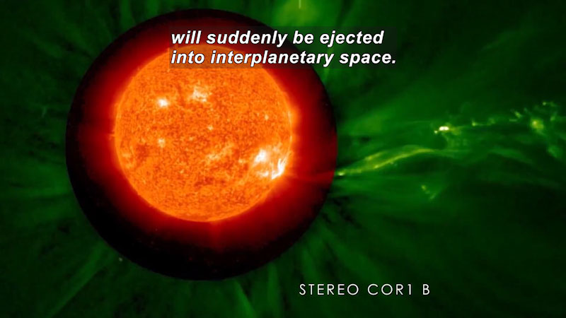 Glowing orb of a star surrounded by green, nebulous light. Stereo COR1 B. Caption: will suddenly be ejected into interplanetary space.
