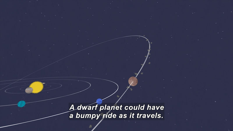 Illustration of a solar system with planets on similar orbits except for one that is travelling on a skewed, debris filled elliptic. Caption: A dwarf planet could have a bumpy ride as it travels.