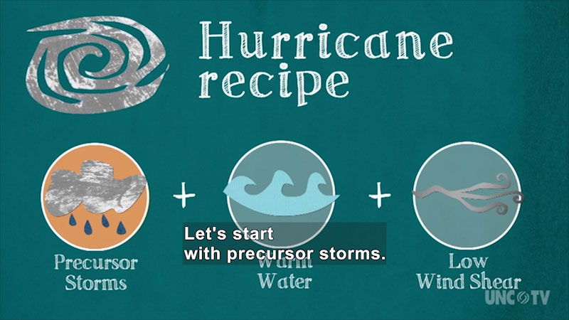 An illustration of hurricane recipe. On screen text, precursor storms + warm water + low wind shear. Iconic representations for all the three are depicted. Caption: Let's start with precursor storms.