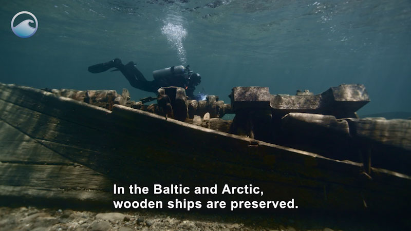 Scuba diver swimming above a wooden ship submerged in shallow water. Caption: In the Baltic and Arctic, wooden ships are preserved.
