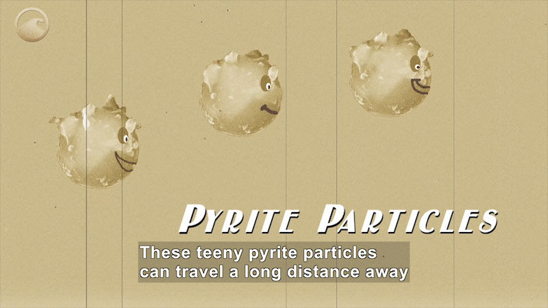 Illustration of three round particles. Pyrite Particles. Caption: These tiny pyrite particles can travel a long distance away