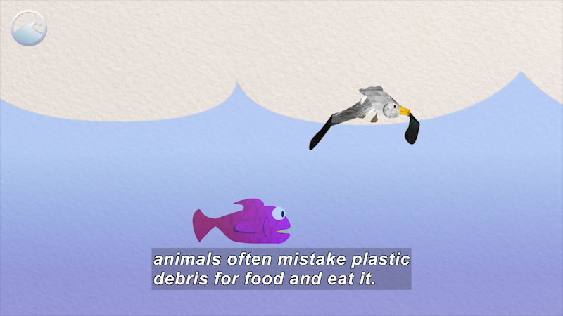 Artwork of a bird and fish. Caption: animals often mistake plastic debris for food and eat it.
