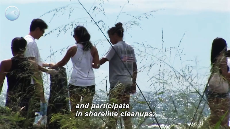 Five people picking up trash. Caption: and participate in shoreline cleanups.