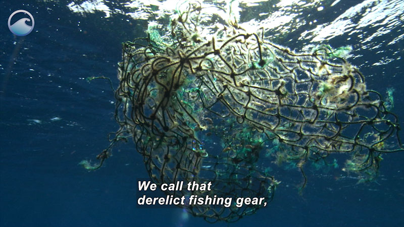 A net floating in water tangled in plastic. Caption: We call that derelict fishing gear,