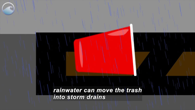 An illustration of a trash bin with its side on the road on a rainy day. Caption: rainwater can move the trash into storm drains.