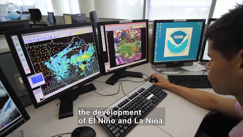 Person at a bank of computer screen showing maps shaded in various colors. Caption: the development of El Niño and La Niña.