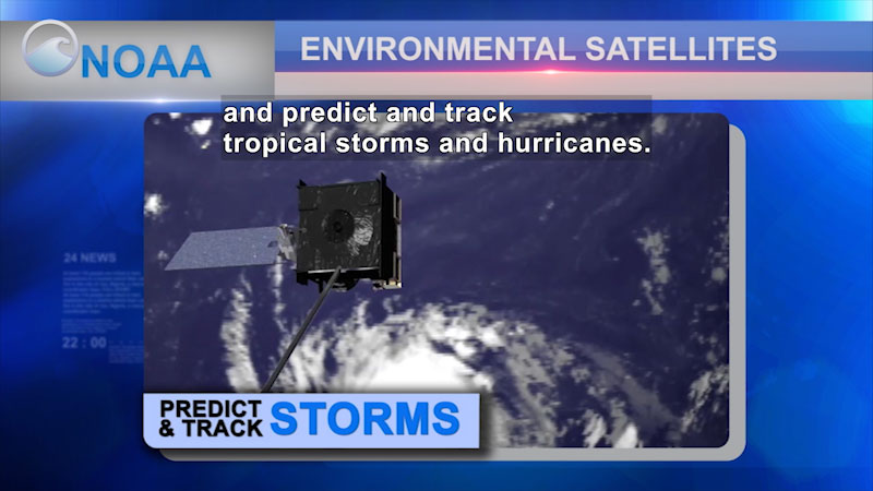 Satellite flying above the ocean with a spiral shaped storm on the water. NOAA Environmental Satellites Predict & Track Storms. Caption: and predict and track tropical storms and hurricanes.