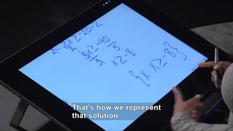 Still image from: Welcome to Algebra I: Solving Multistep Linear Inequalities Algebraically